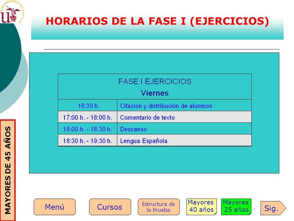 HORARIOS DE LA FASE I (EJERCICIOS)