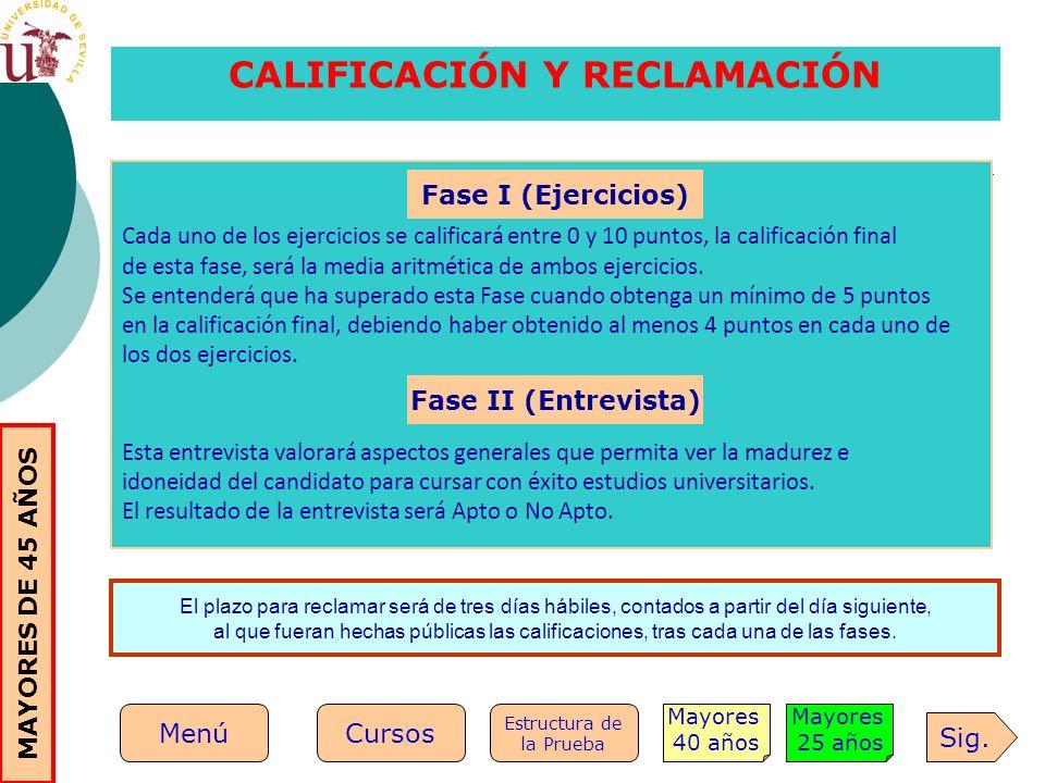 CALIFICACIÓN Y RECLAMACIÓN