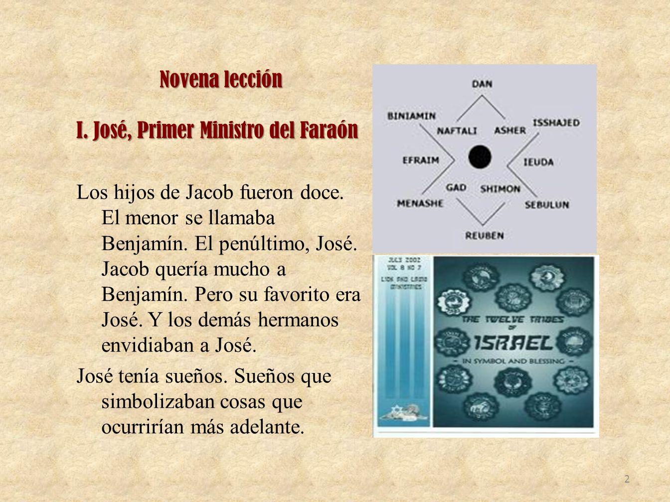 Novena lección I.José, Primer Ministro del Faraón Los hijos de Jacob fueron doce.