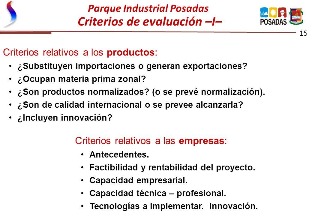 Parque Industrial Posadas Criterios de evaluación –I–