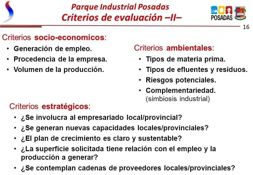 Parque Industrial Posadas Criterios de evaluación –II–
