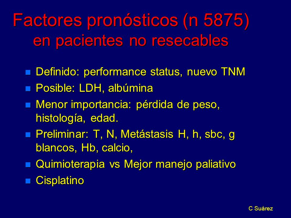 Factores pronósticos (n 5875) en pacientes no resecables