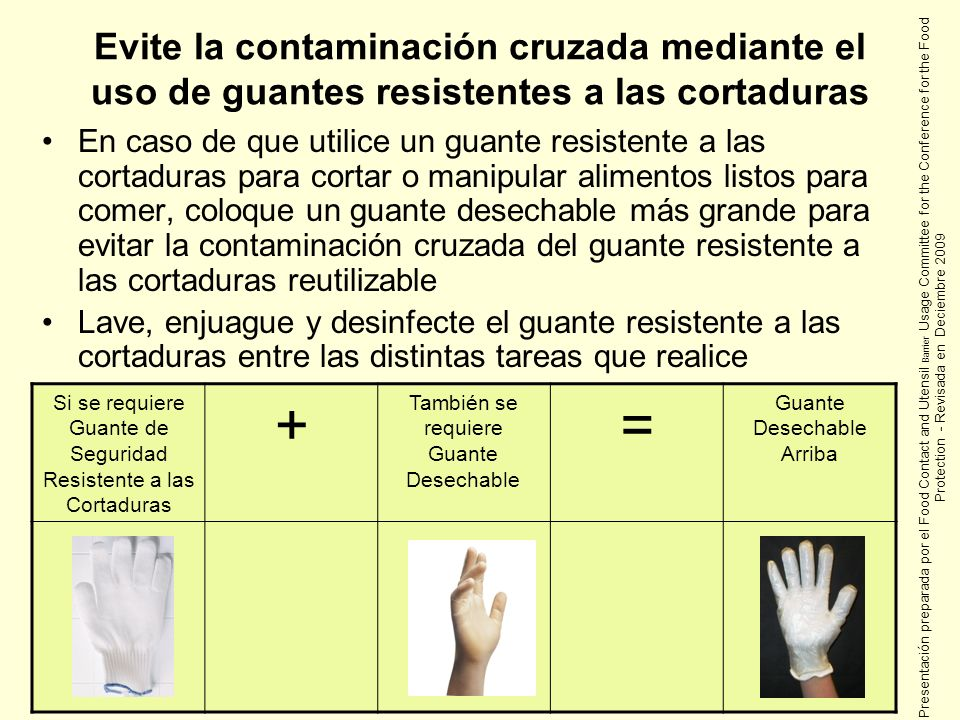 Evite la contaminación cruzada mediante el uso de guantes resistentes a las cortaduras