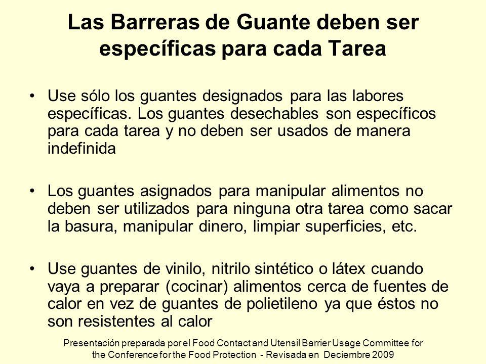 Las Barreras de Guante deben ser específicas para cada Tarea