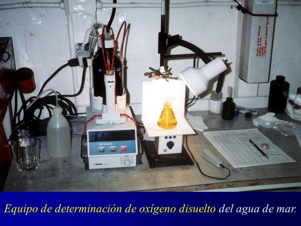 Equipo de determinación de oxígeno disuelto del agua de mar.