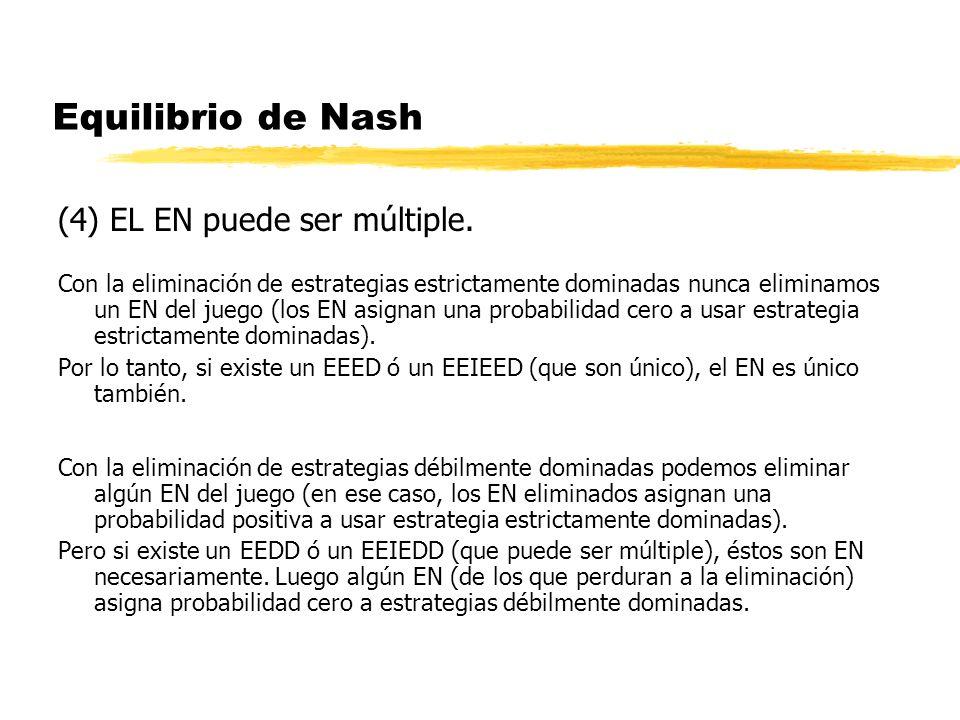 Equilibrio de Nash (4) EL EN puede ser múltiple.