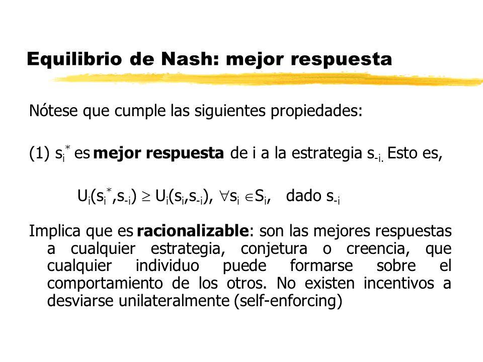Equilibrio de Nash: mejor respuesta
