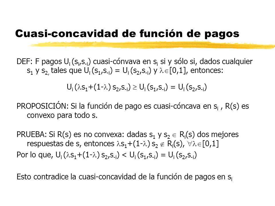 Cuasi-concavidad de función de pagos