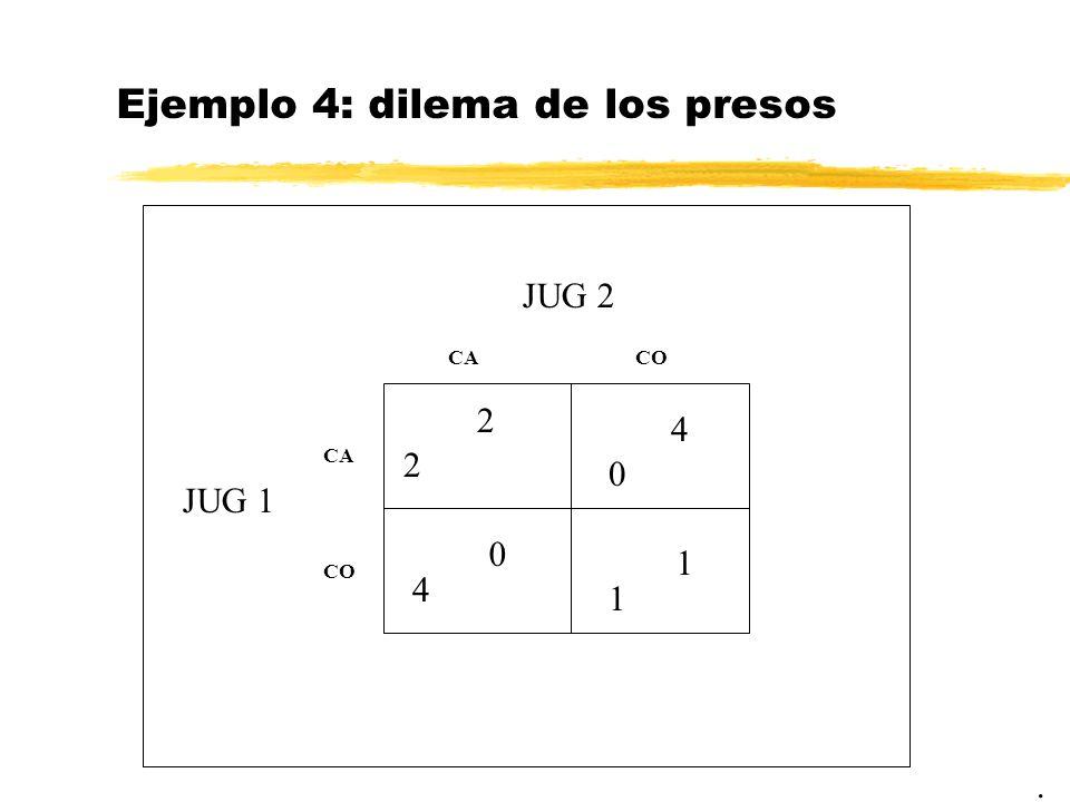 Ejemplo 4: dilema de los presos