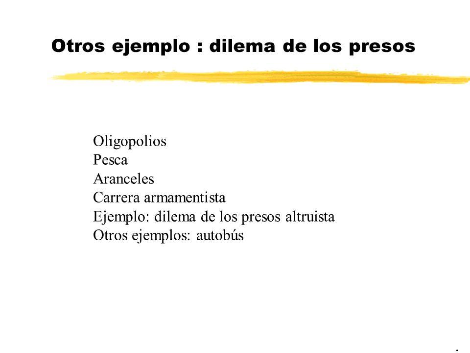 Otros ejemplo : dilema de los presos