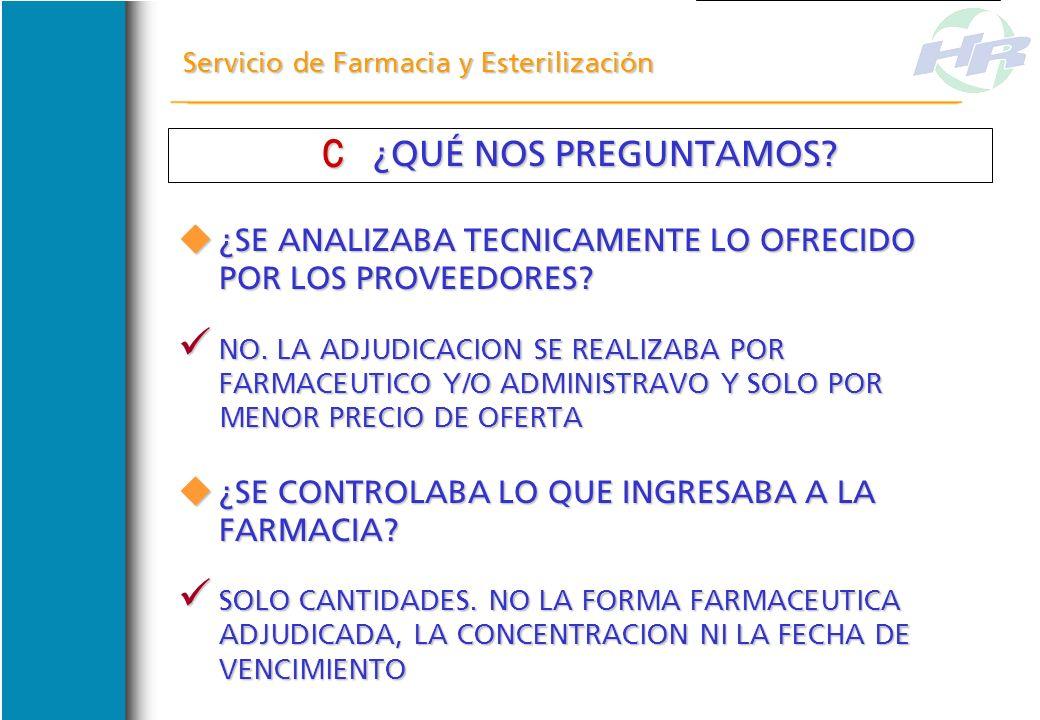 Servicio de Farmacia y Esterilización