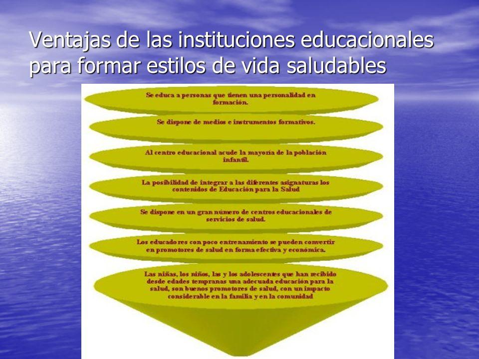 Ventajas de las instituciones educacionales para formar estilos de vida saludables