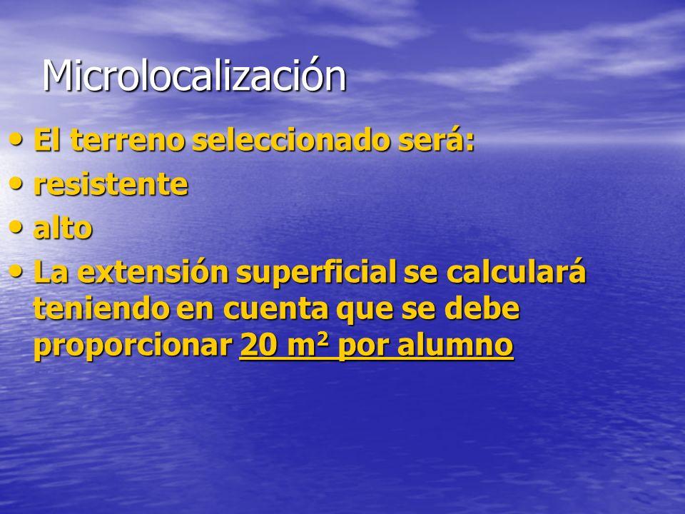 Microlocalización El terreno seleccionado será: resistente alto