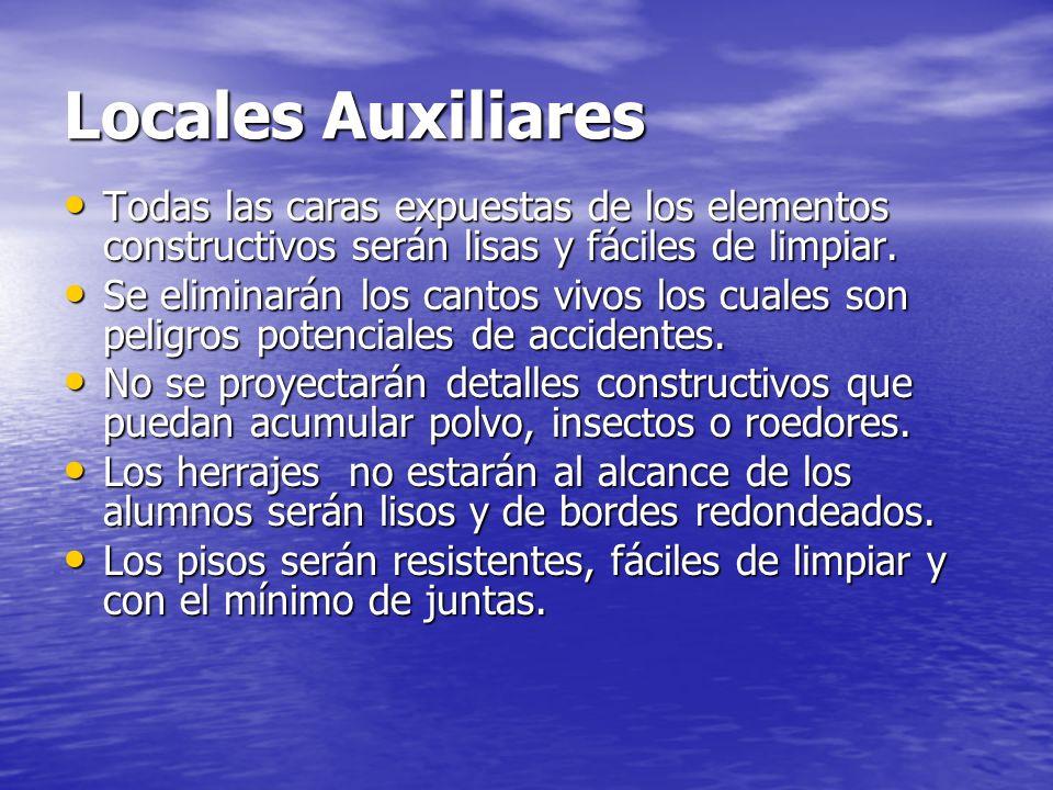 Locales Auxiliares Todas las caras expuestas de los elementos constructivos serán lisas y fáciles de limpiar.