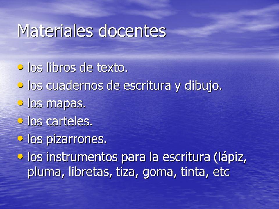 Materiales docentes los libros de texto.