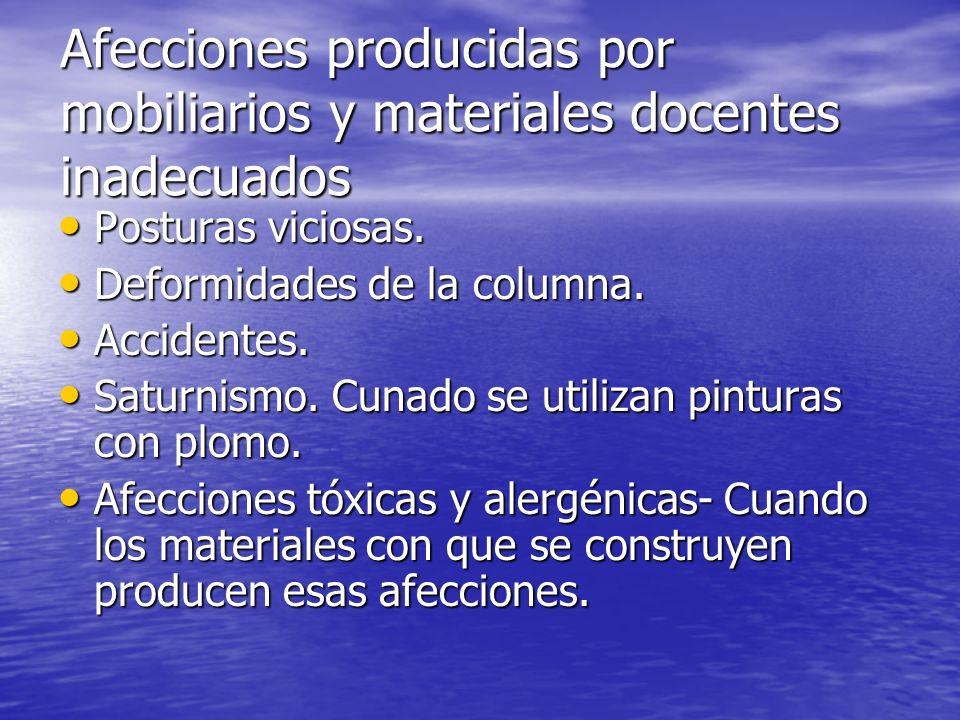 Afecciones producidas por mobiliarios y materiales docentes inadecuados