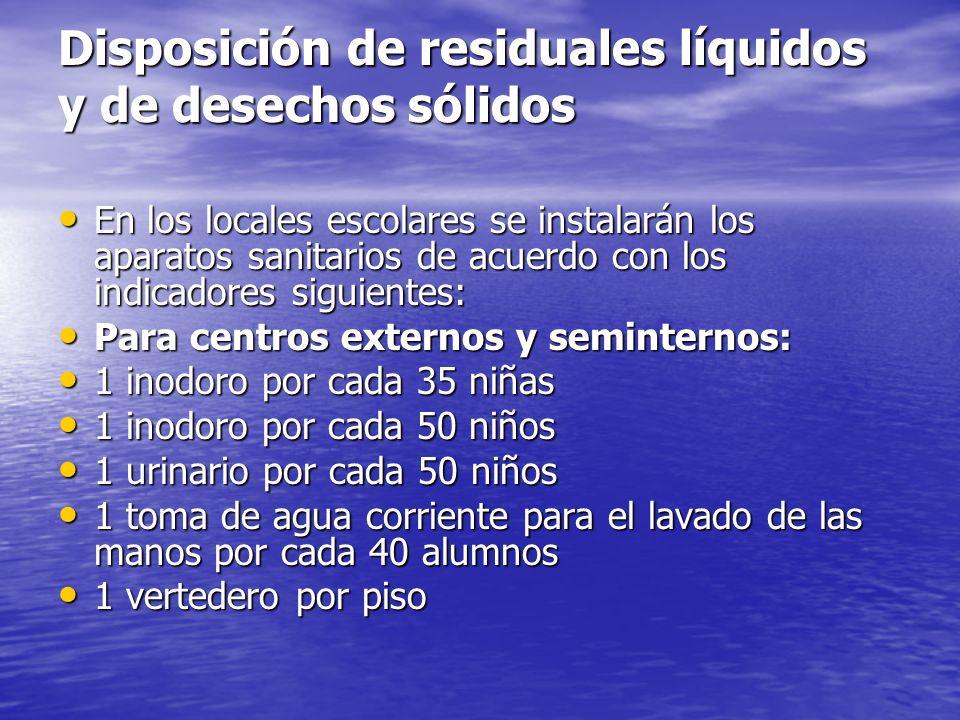 Disposición de residuales líquidos y de desechos sólidos
