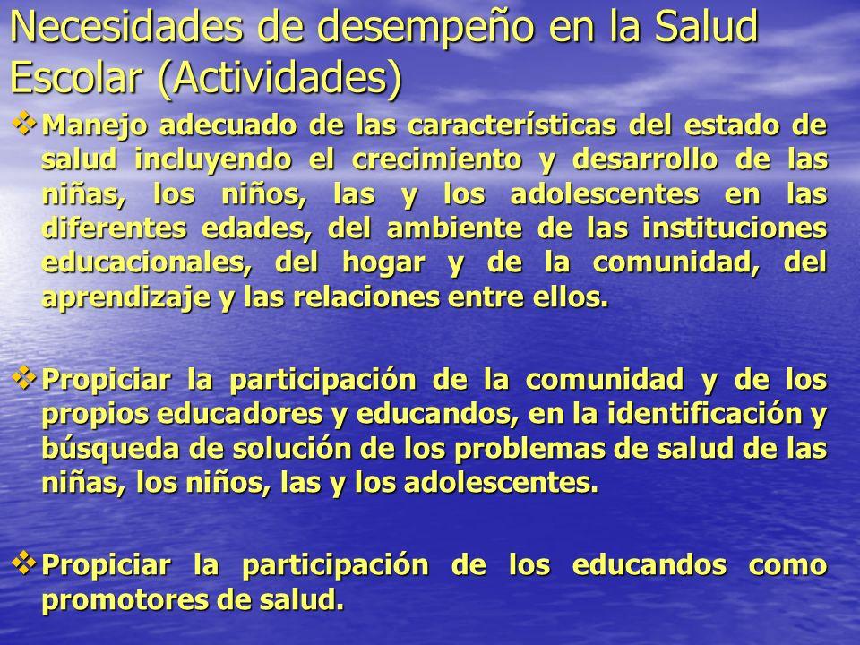 Necesidades de desempeño en la Salud Escolar (Actividades)
