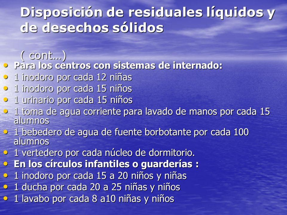 Disposición de residuales líquidos y de desechos sólidos ( cont…)