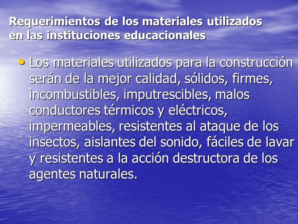 Requerimientos de los materiales utilizados en las instituciones educacionales