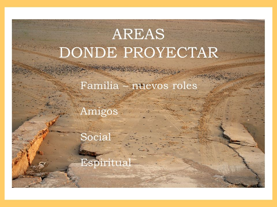 AREAS DONDE PROYECTAR Familia – nuevos roles Amigos Social Espiritual