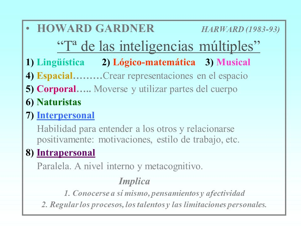 HOWARD GARDNER HARWARD (1983-93) Tª de las inteligencias múltiples
