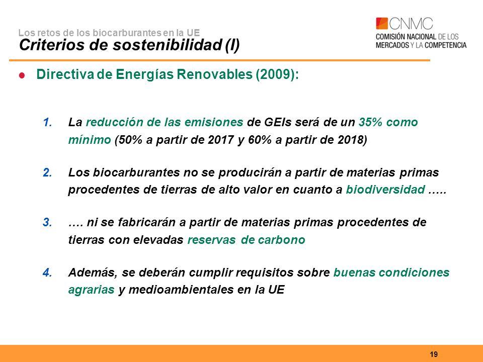 Los retos de los biocarburantes en la UE Criterios de sostenibilidad (I)