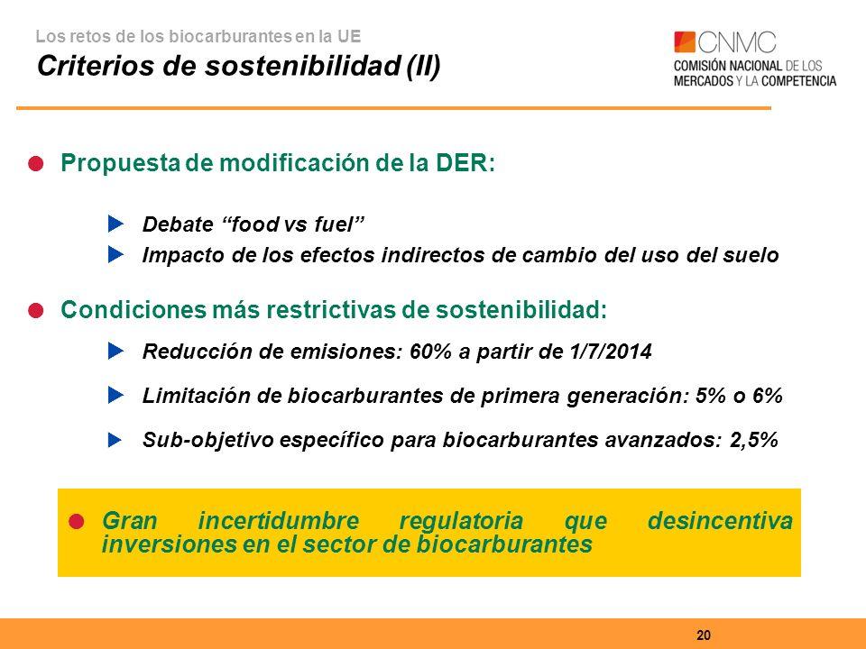 Criterios de sostenibilidad (II)