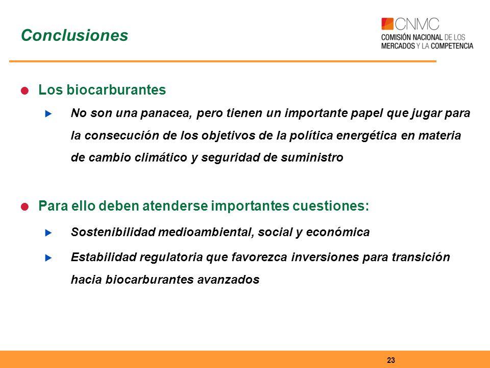 Conclusiones Los biocarburantes