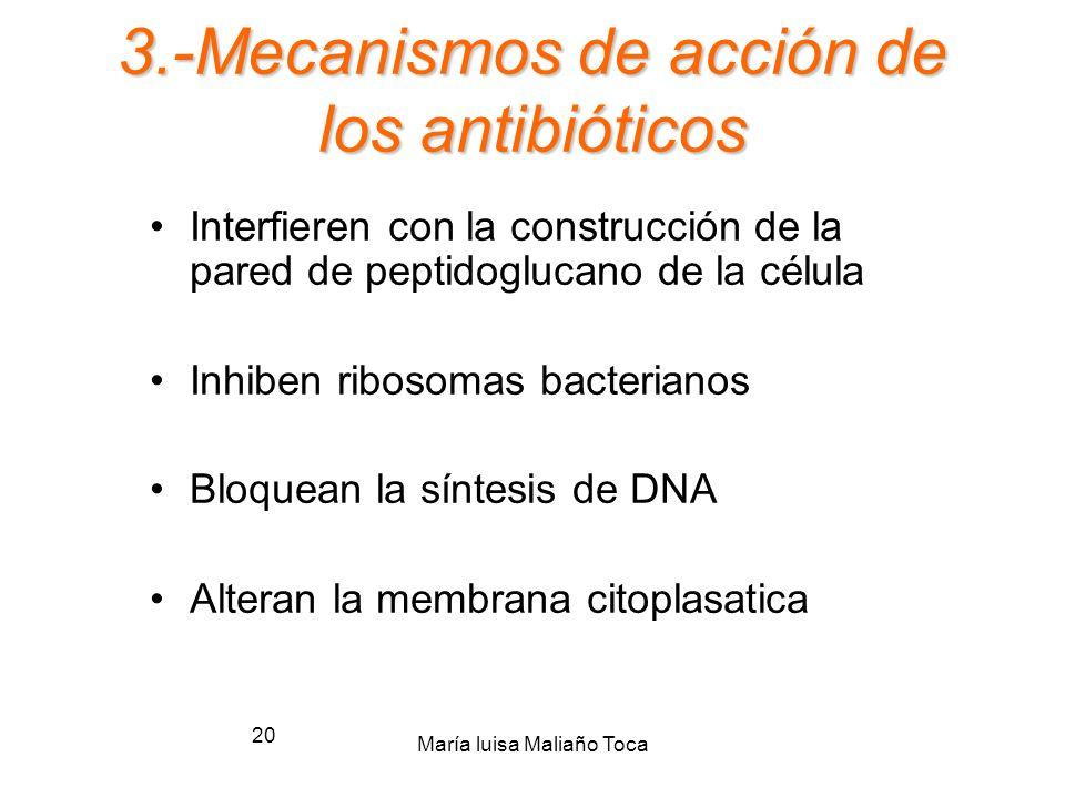 3.-Mecanismos de acción de los antibióticos