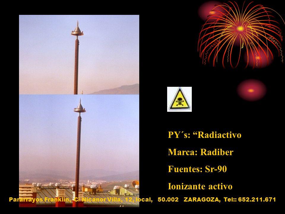 PY´s: Radiactivo Marca: Radiber Fuentes: Sr-90 Ionizante activo