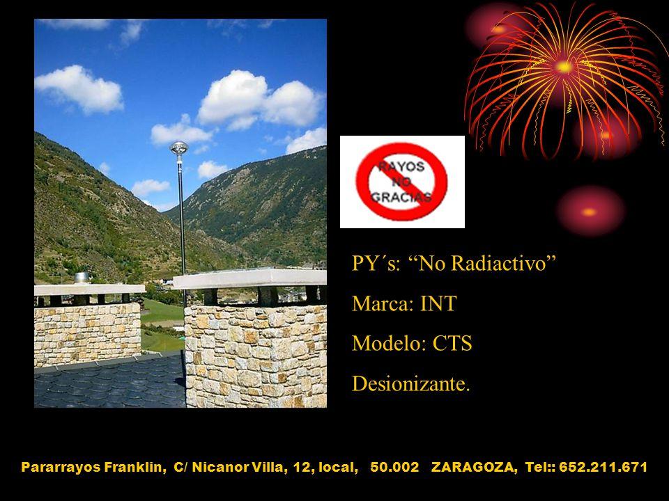 PY´s: No Radiactivo Marca: INT Modelo: CTS Desionizante.