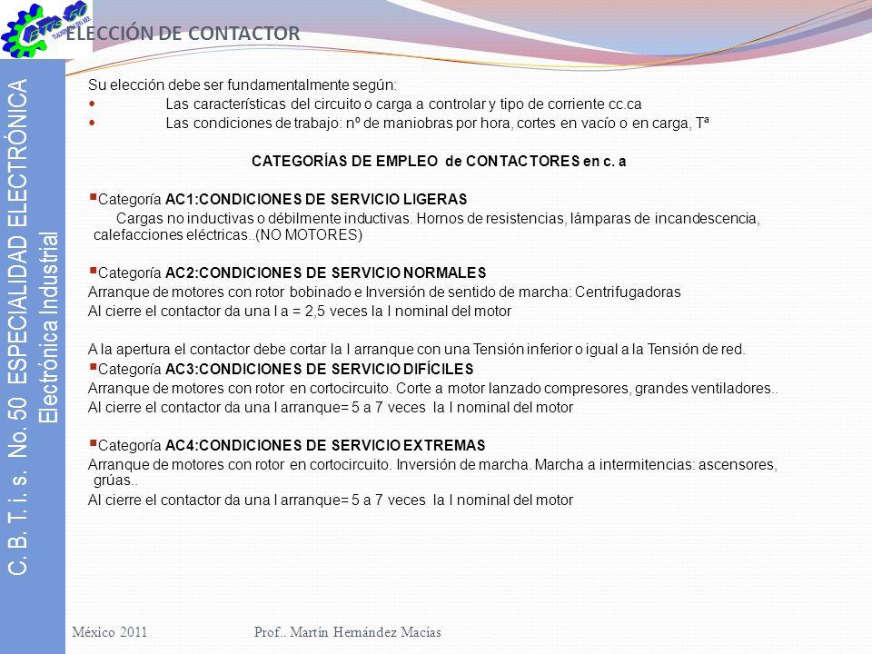 CATEGORÍAS DE EMPLEO de CONTACTORES en c. a