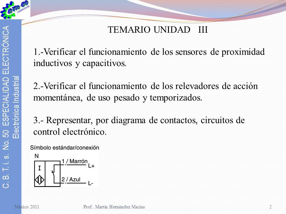 TEMARIO UNIDAD III 1.-Verificar el funcionamiento de los sensores de proximidad inductivos y capacitivos.