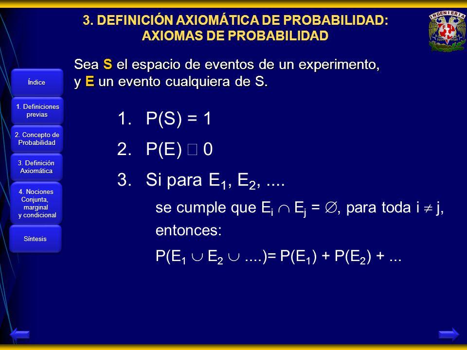 3. DEFINICIÓN AXIOMÁTICA DE PROBABILIDAD: AXIOMAS DE PROBABILIDAD