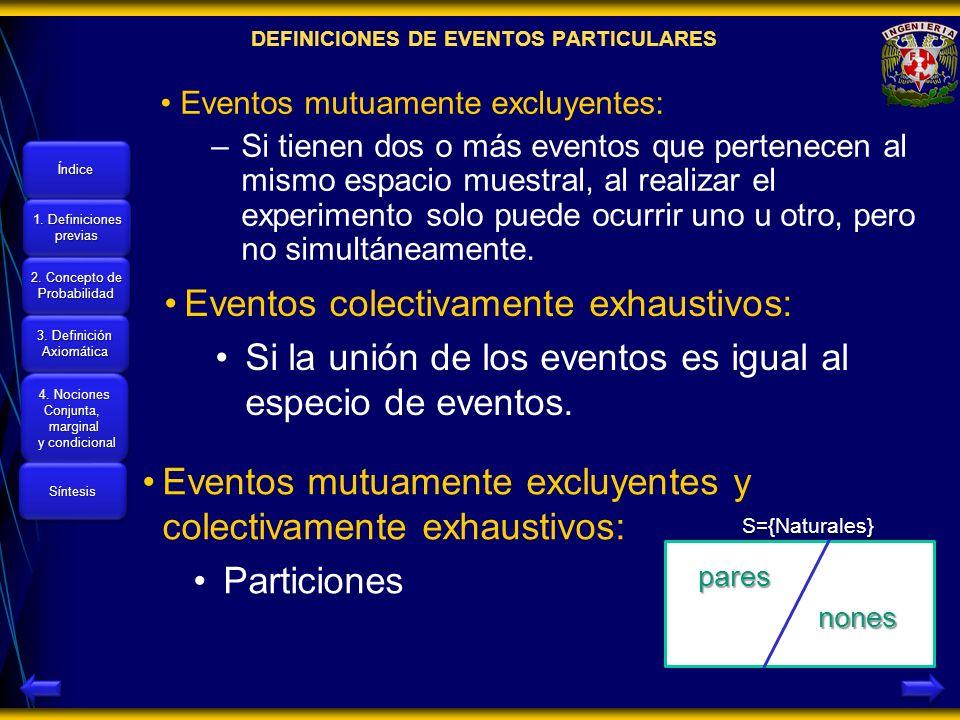 DEFINICIONES DE EVENTOS PARTICULARES