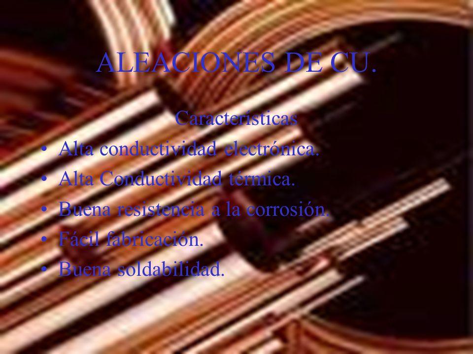 ALEACIONES DE CU. Características Alta conductividad electrónica.