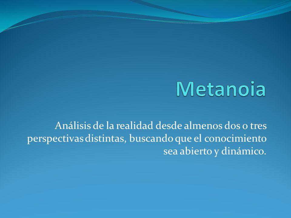 Metanoia Análisis de la realidad desde almenos dos o tres perspectivas distintas, buscando que el conocimiento sea abierto y dinámico.