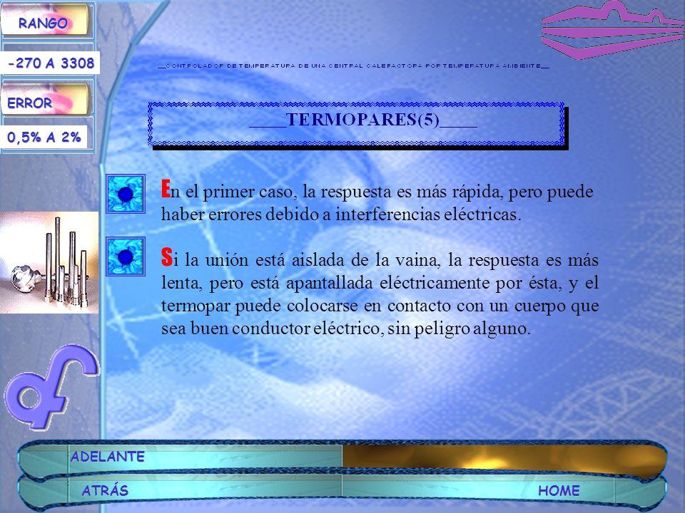RANGO ERROR. -270 A 3308. 0,5% A 2% En el primer caso, la respuesta es más rápida, pero puede haber errores debido a interferencias eléctricas.