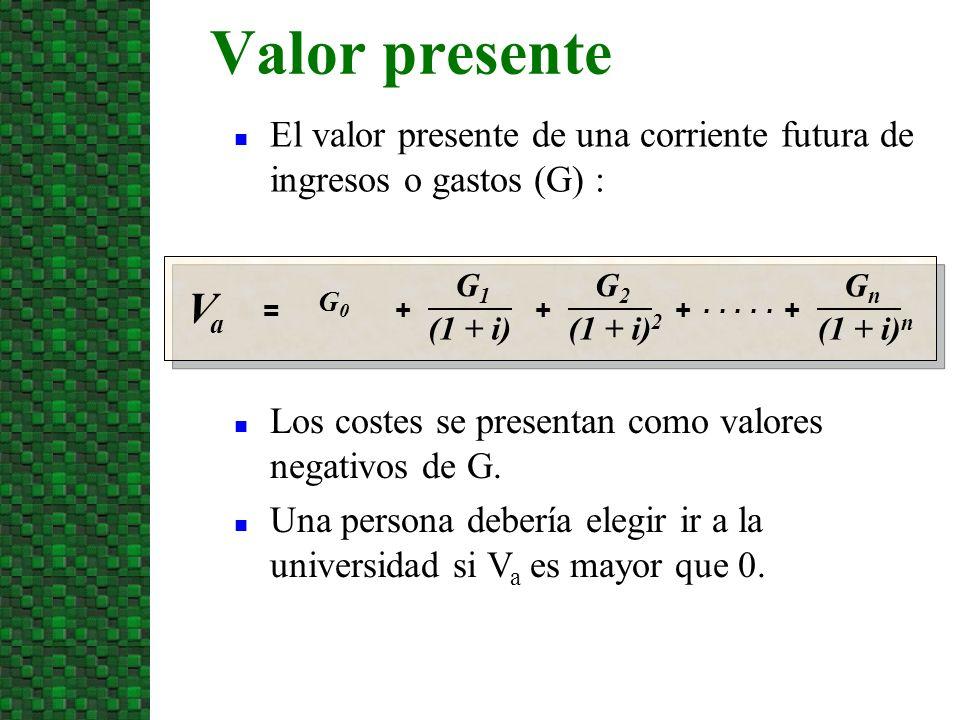 10/07/09 Valor presente. El valor presente de una corriente futura de ingresos o gastos (G) : Va.