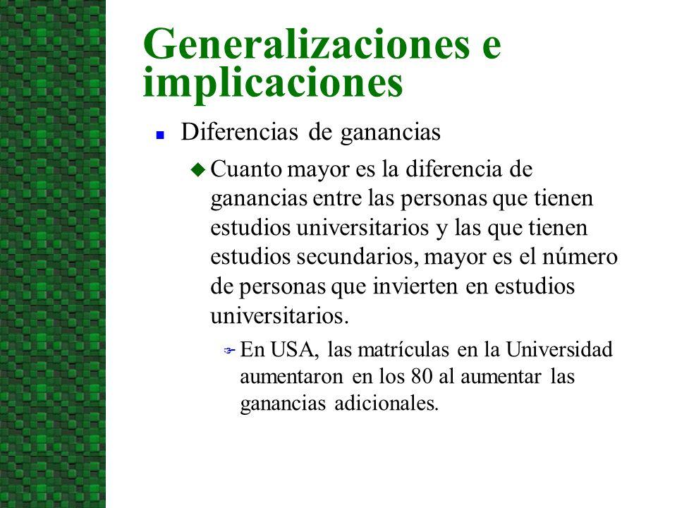 Generalizaciones e implicaciones