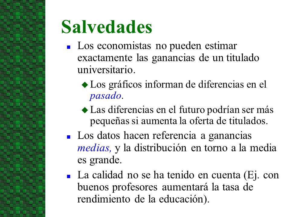 10/07/09 Salvedades. Los economistas no pueden estimar exactamente las ganancias de un titulado universitario.