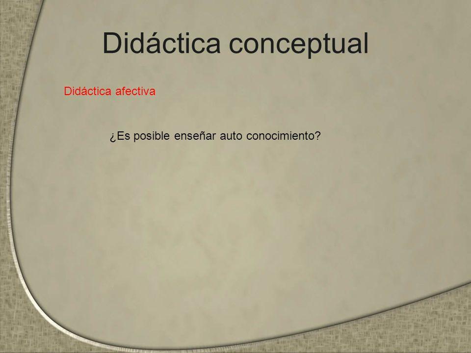 Didáctica conceptual Didáctica afectiva