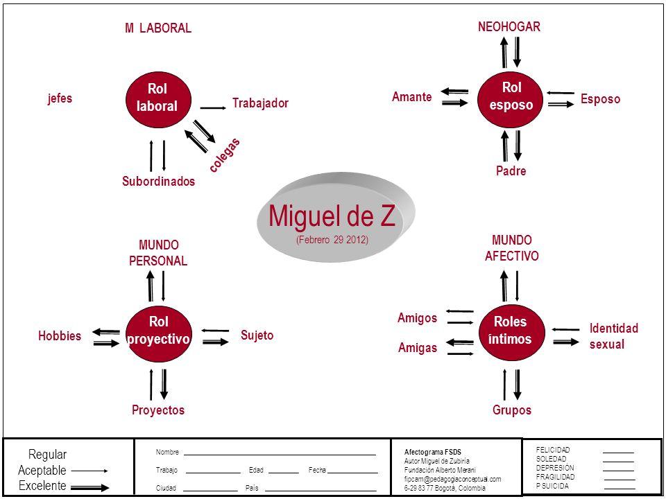 Miguel de Z Rol laboral Rol esposo Rol proyectivo Roles íntimos