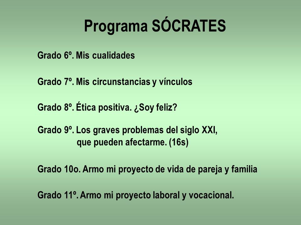 Programa SÓCRATES Grado 6º. Mis cualidades