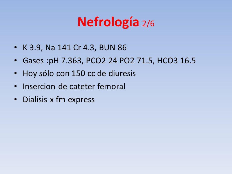 Nefrología 2/6 K 3.9, Na 141 Cr 4.3, BUN 86. Gases :pH 7.363, PCO2 24 PO2 71.5, HCO3 16.5. Hoy sólo con 150 cc de diuresis.