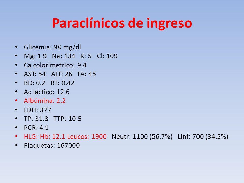 Paraclínicos de ingreso