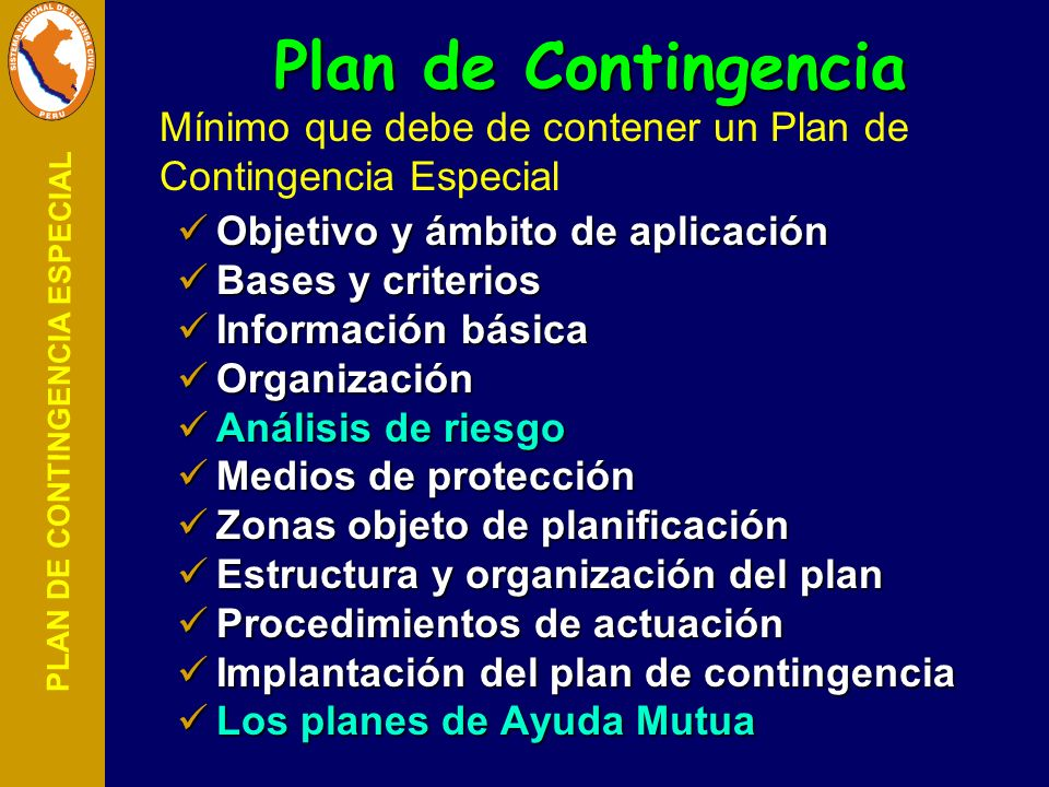 Plan de Contingencia Mínimo que debe de contener un Plan de