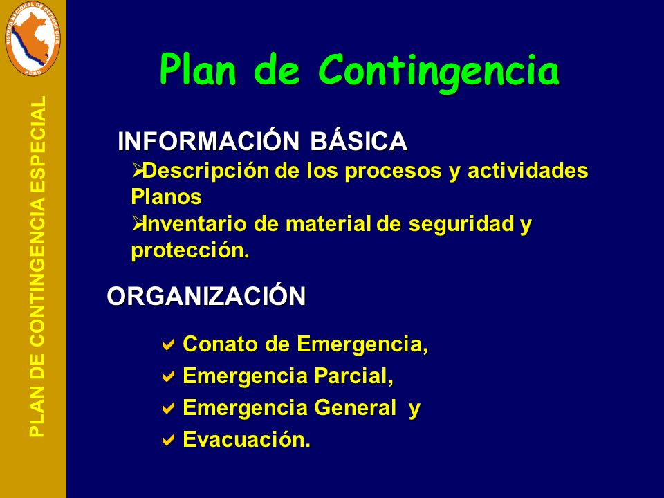Plan de Contingencia INFORMACIÓN BÁSICA ORGANIZACIÓN