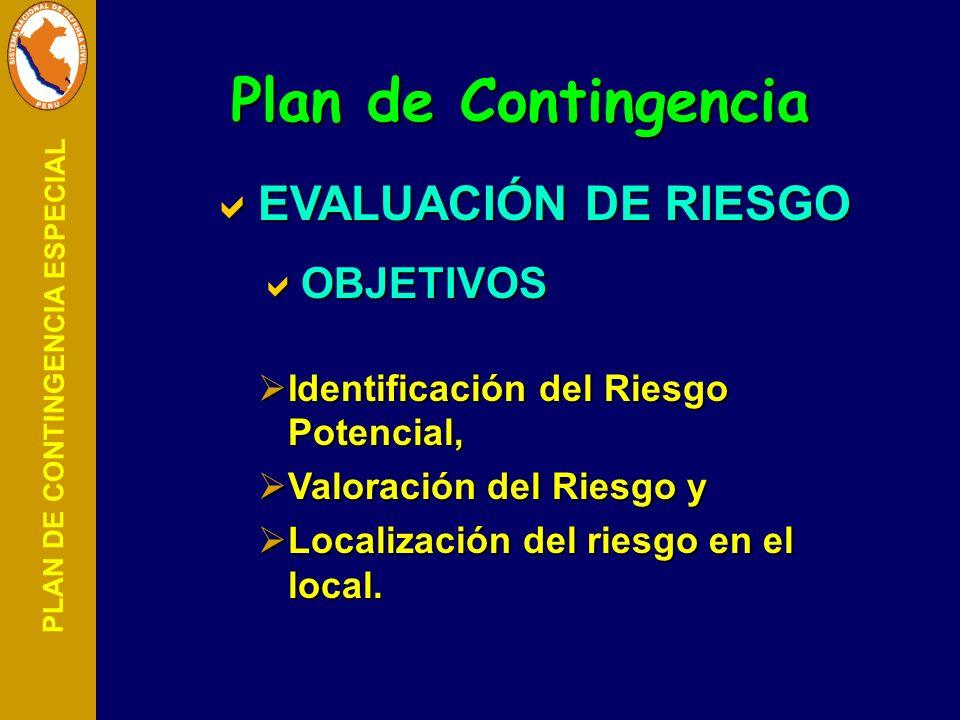 Plan de Contingencia EVALUACIÓN DE RIESGO OBJETIVOS
